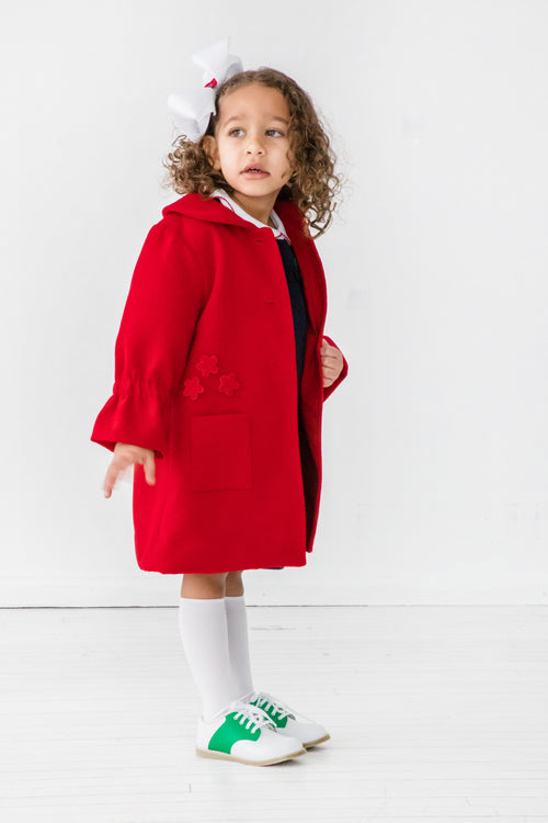 Girls Red Coat with Flower Appliqués on Model