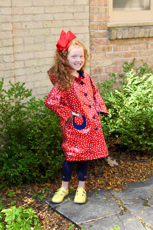Red Polka Dot Raincoat with Ladybug Pockets