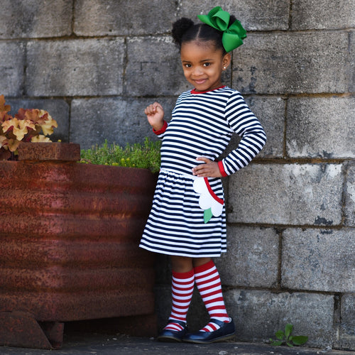 Girls Navy and White Striped Dress with Pockets on Model