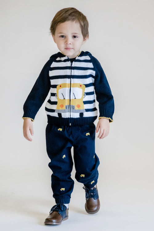 Navy Striped School Bus Sweater