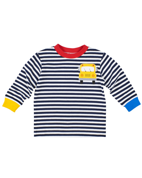 Stripe Knit Shirt With School Bus Pocket