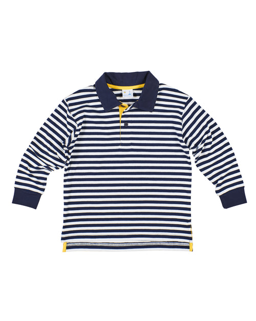 Boys Navy/White Stripe Polo Shirt