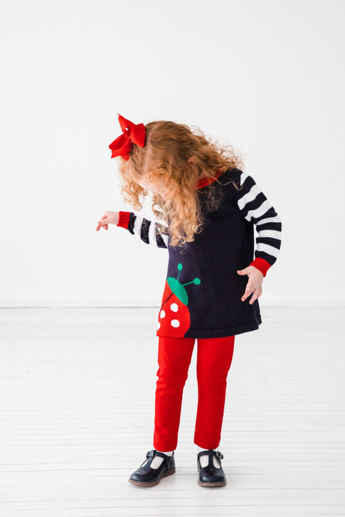 Navy Girls Ladybug Sweater and Leggings Set on Model on Angle