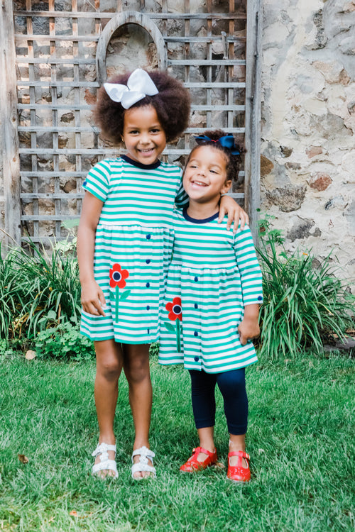Green Striped Girls Dress and Leggings Set with Matching Short Sleeve Dress