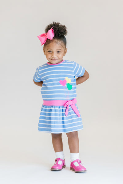 Girls Striped Dress with Heart Balloon Appliqués on Model Front