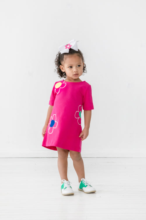Bright Pink Girls Short Sleeve Dress with Flowers on Model