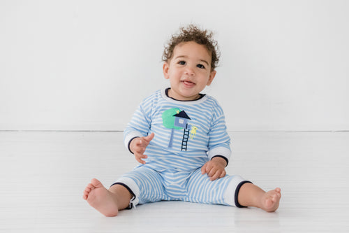 Tree House & Monkey Onesie Baby Playwear on Model