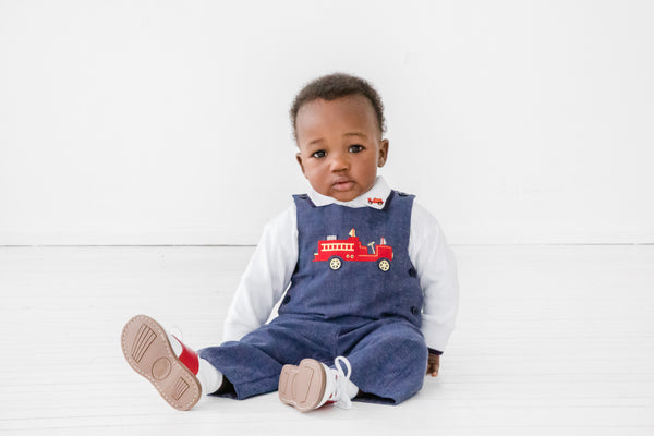 Navy Herringbone Baby Longalls with Fire Engine on Model