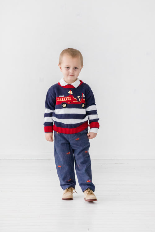 Boys Herringbone Pants with Fire Engines on Model
