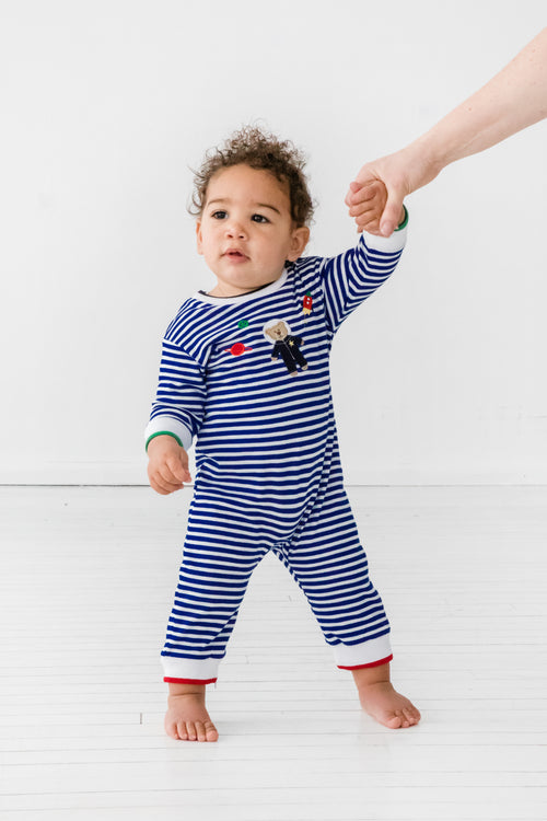 Royal Blue Baby Boy Striped Onesie With Astronaut on Model