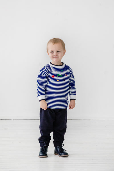 Royal Blue Striped Shirt with Space Appliqués