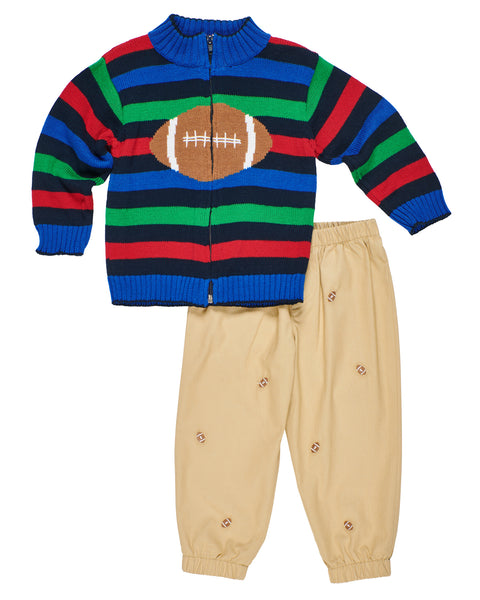 Striped Baby & Toddler Boys Football Sweater with Joggers