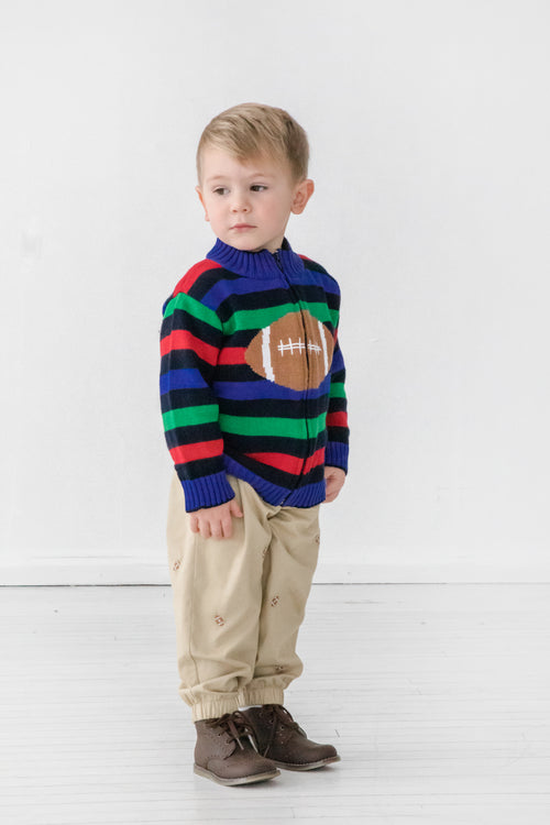 Baby & Toddler Khaki Joggers with Footballs on Model