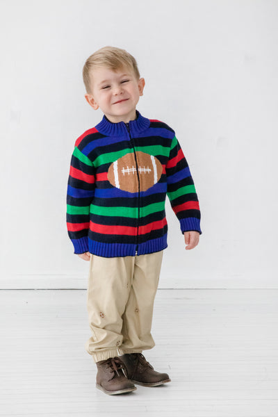 Striped Baby & Toddler Boys Football Sweater on Model