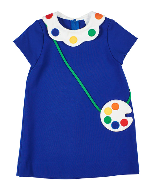 Girls A-line Dress with Palette Collar and Purse
