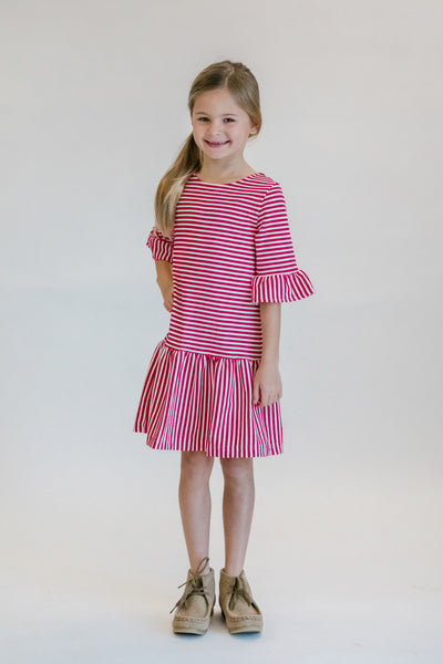 Deep Pink Striped Casual Striped Dress for Tween Girls on Model in Studio