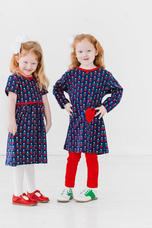 Girls Long Sleeve Navy Dress with Heart Pocket - On Model with Pair