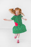Green Polka Dot Dress with Large Apple Appliqué