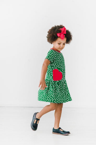 Green Short Sleeve Polka Dot Dress with Apple on Model
