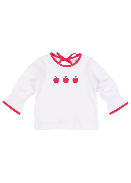 White Knit Blouse With Apples