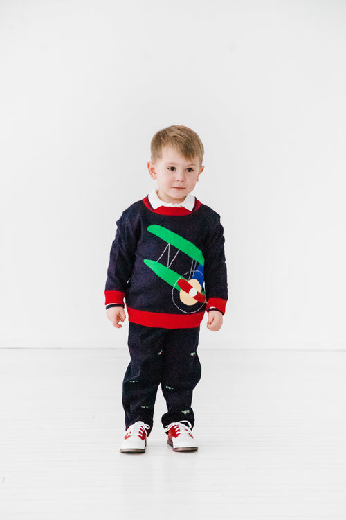Navy Toddler Boy Sweater with Airplane on Model