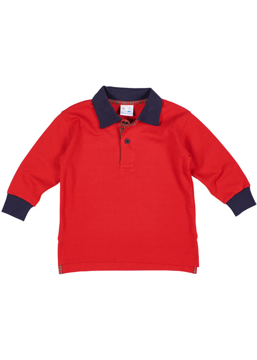Boys Red Long Sleeve Shirt with Plaid Trim