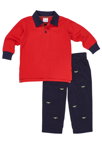 Boys Red Long Sleeve Shirt with Plaid Trim with Navy Corduroys with Embroidered Airplanes