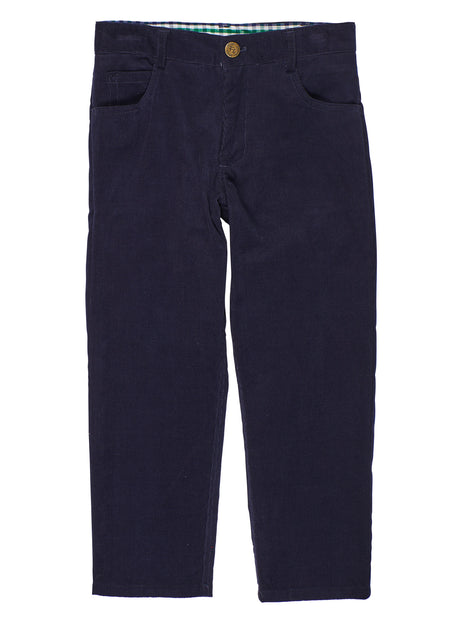 Navy Corduroy Pants with Embroidered Airplanes