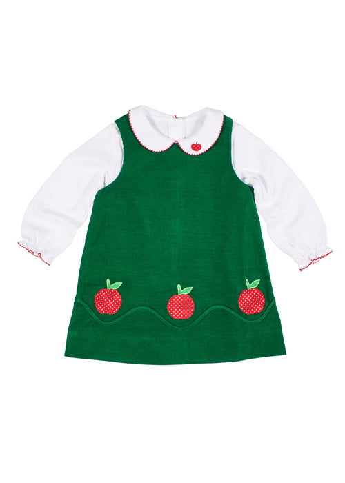 Long Sleeve Blouse With Red Picot And Apple