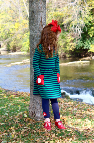 Stripe Knit Dress With Flower Pockets