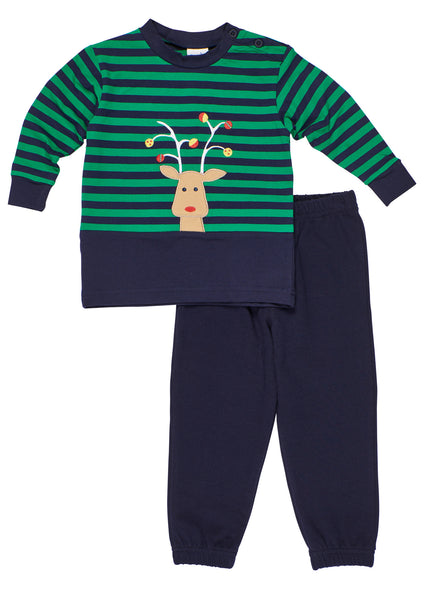 Stripe Knit Shirt With Reindeer