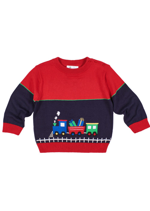 Crew Neck Sweater With Jacquard Train