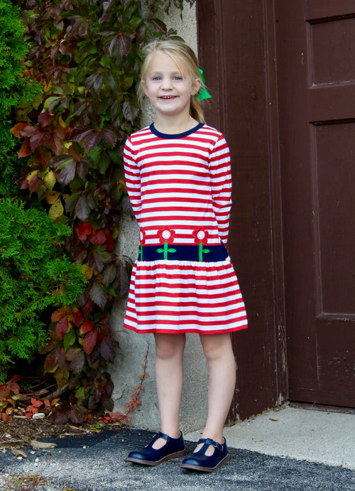 Red Stripe Knit Dress With Flowers