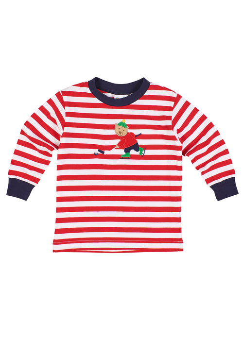 Red Stripe Knit Shirt With Hockey Bear