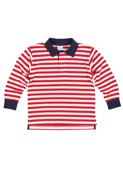 Red Stripe Knit Polo Shirt