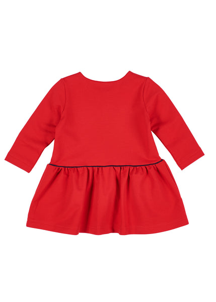 Red Girls Dress in French Terry Back