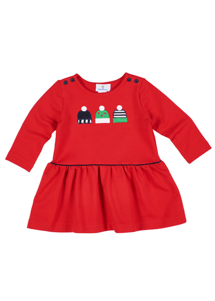 Red Girls Dress in French Terry
