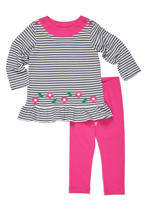 Grey Stripe Knit Tunic With Flowers/Pink Legging