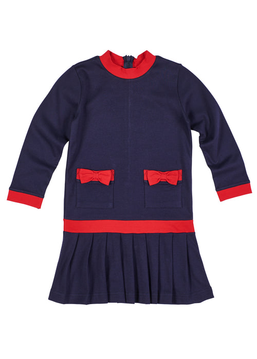 Girls Navy Blue Dress with Red Trim