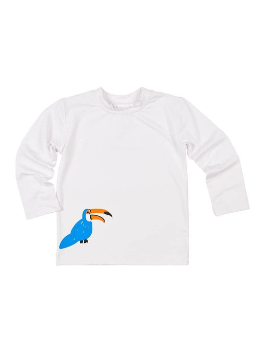 White Rash Guard With Toucan Screen Print - Florence Eiseman