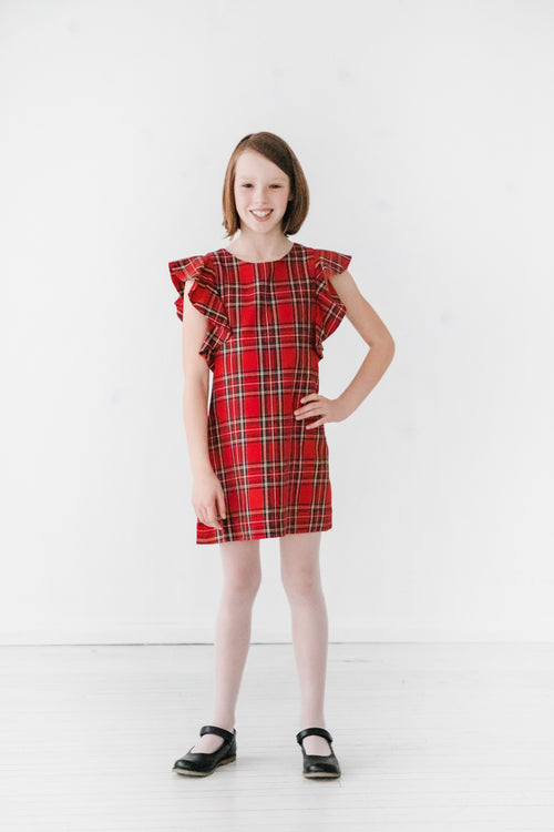 Plaid Dress With Flutter Sleeves