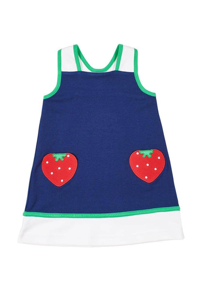 Navy/White Dress With Strawberry Pockets - Florence Eiseman
