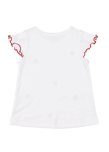 White Petal Sleeve Top With Strawberry Embroidery - Florence Eiseman