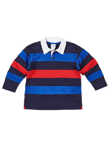 Boys Long Sleeve Polo Shirt in Navy, Blue, and Red