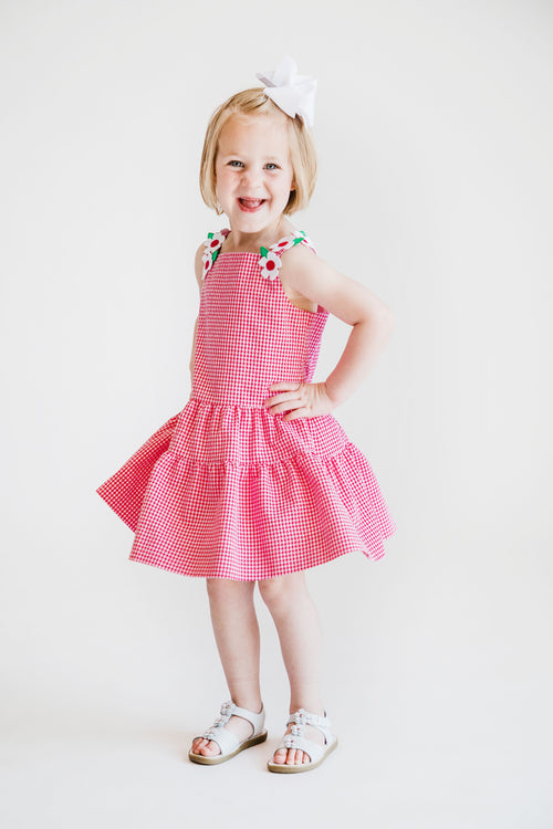 Girls Cherry Red Seersucker Dress with Appliqued Flowers
