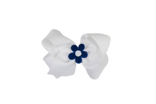 White Wee Ones Hair Bow with Dark Blue and White Flower