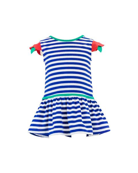 Stripe Dress With Flower Sleeves