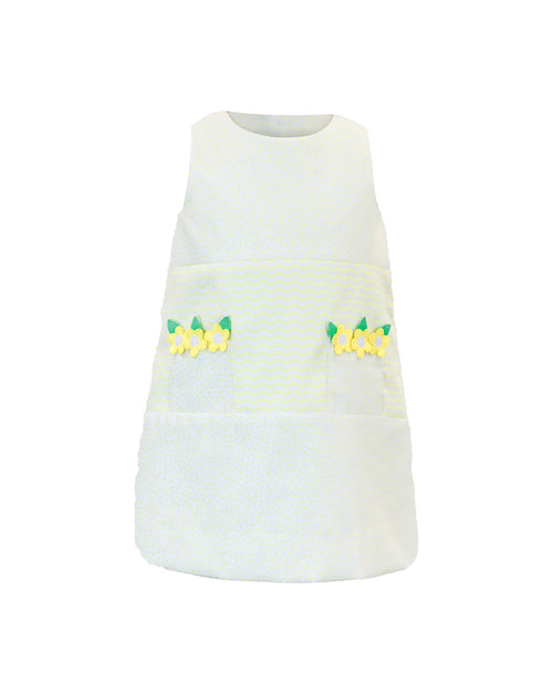 Yellow Dot Pique Dress With Flowers