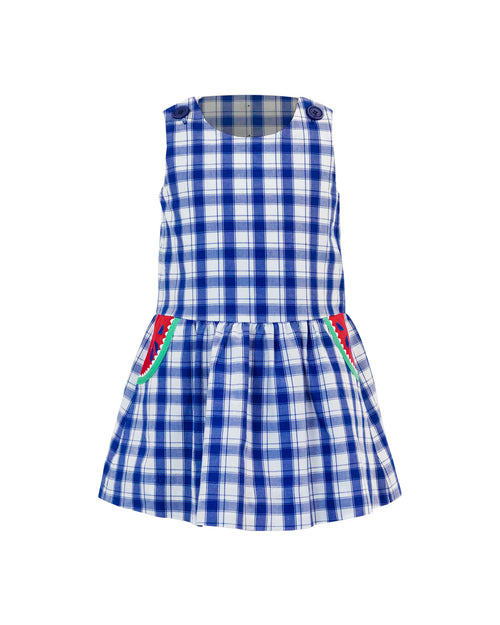 Plaid Dress With Watermelon Pockets
