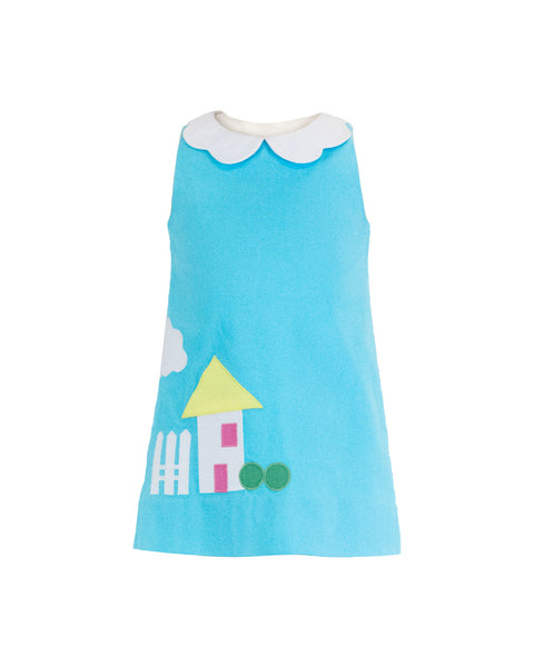 Turquoise Pique Dress With House